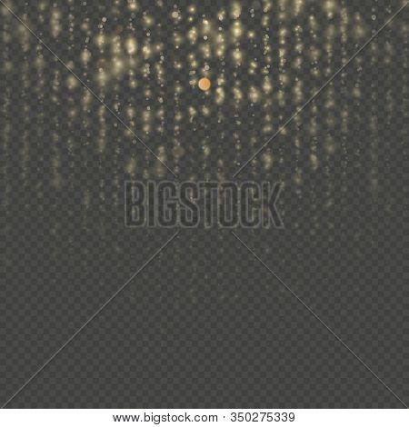 Gold Particles Lines Rain. Sparkling Of Shimmering Light Blurs. Overlay Transparent Glitter Threads
