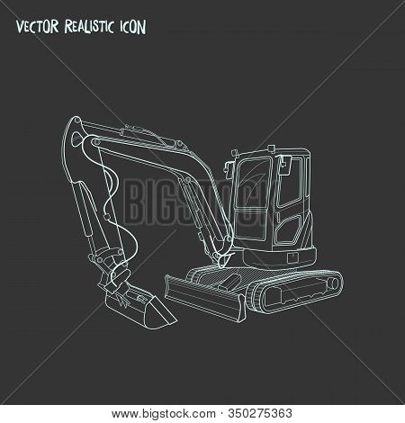 Compact Excavator Icon Line Element. Illustration Of Compact Excavator Icon Line Isolated On Clean B