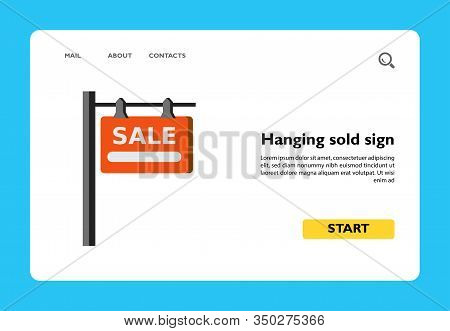 Icon Of Hanging Sign With Inscription Sale. Buying House, House For Sale. House Concept. Can Be Used