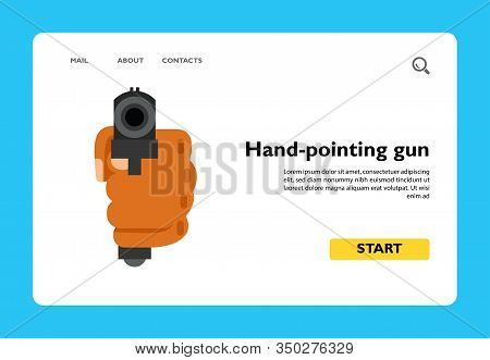 Icon Of Hand-pointing Gun. Pistol, Killer, Shooting. Ghetto Concept. Can Be Used For Topics Like Cri