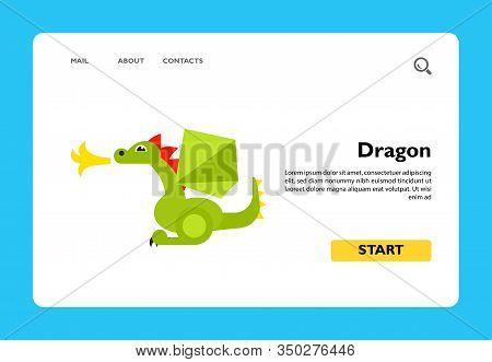 Vector Icon Of Fire-breathing Magic Dragon. Fairy-tale Character, Magic Animal, Mythology. Fairy-tal