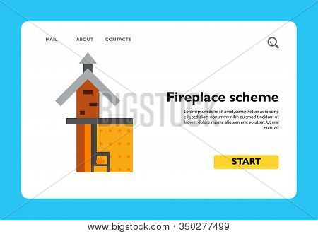 Icon Of Fireplace Scheme. Chimney, System, Construction. Architecture Concept. Can Be Used For Topic
