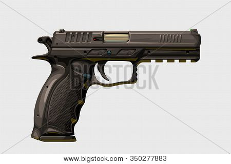 Illustration Of Modern Realistic Handgun Side View Isolated On White Background