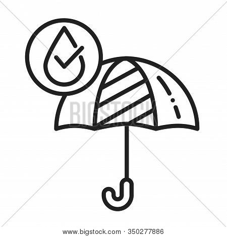 Waterproof Open Umbrella Black Line Icon. Water Repellent Fashion Accessory Concept. Impermeable Too