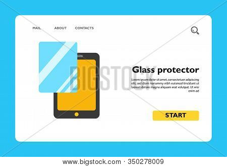 Vector Icon Of Glass Protector For Digital Tablet. Screen Protector, Glass Change, Touchpad Accessor