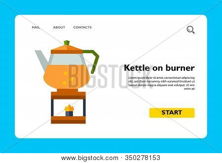 Image Of Boiling Teakettle On Fire Isolated On White Background
