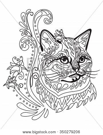 Vector Hand Drawing Zentangle Doodle Coloring Antistress With Ornamental British Cat Portrait Isolat
