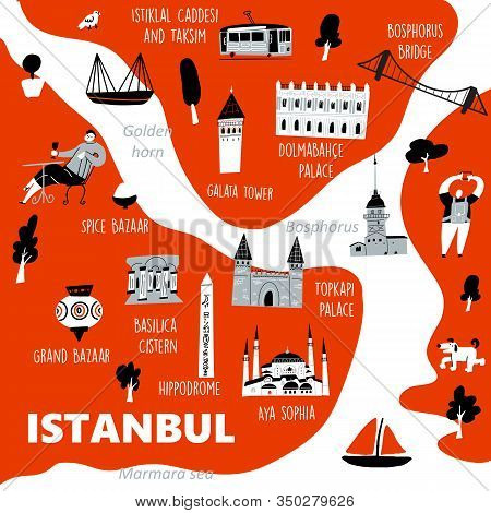Istanbul Stylized Map With Main Tourists Attractions And Cultural Symbols, Made In Vector.