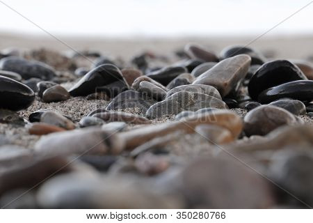 Pebble Stones On The Shore Close Up