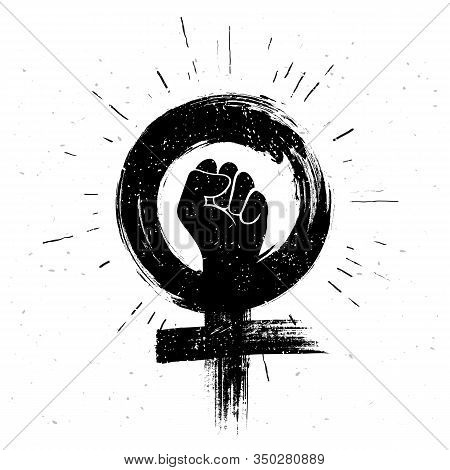 Vector Illustration Women Resist Symbol. Raised Fist Icon. Female Gender And  Feminism Logo Design.