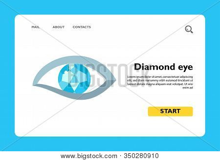 Vector Icon Of Human Eye With Diamond. Brilliant, Jewelry, Bijouterie. Gems Concept. Can Be Used For