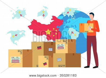 Character Holding Carton Box In Hands. Globe And Flag Of China. Business Trade With Oriental Country