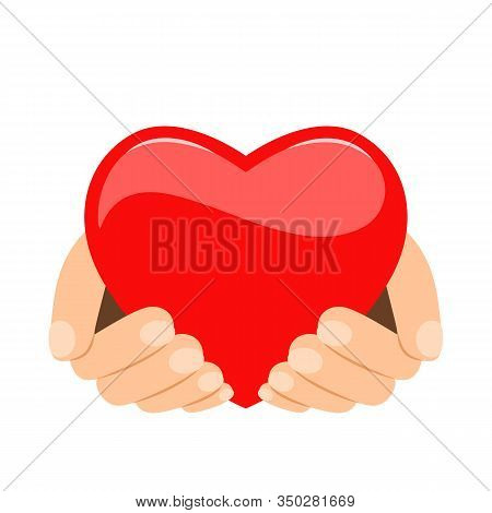 Red Heart In Human Hands. The Concept Of Love And Devotion And Unconditional Love.