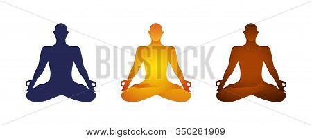 Yoga Lotus Pose Basic Clipart Character Cutout Asana Shape Man Sitting Meditating Silhouette.