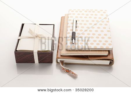 Notebooks with box of cards