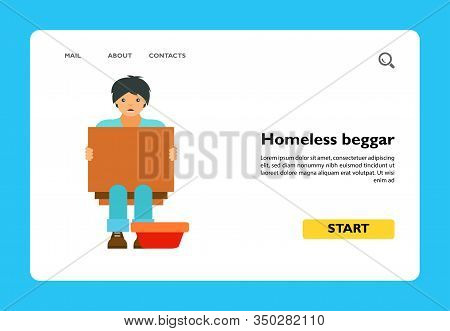 Icon Of Homeless Beggar. Poverty, Charity, Help. Misery Concept. Can Be Used For Topics Like Welfare