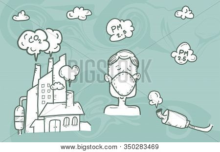 Illustration Man Wearing Mask Against Smog.,air Pollution, Industrial Smog Protection Concept Flat S