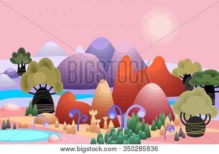 Fantasy Panorama Landscape Vith Mountains, Trees And Flowers. Cartoon Illustration Of Sunrise In Mag