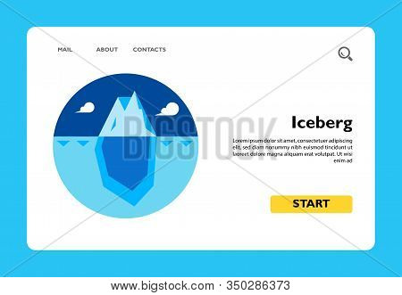 Multicolored Vector Icon Of Huge Blue Iceberg With Tip Over Water Surface And Bigger Part Under Wate