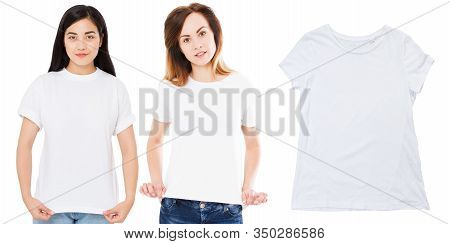 White T-shirt Close Up Mock Up Isolated, Asian And Caucasian Persons In Stylish White Blank Tshirt.