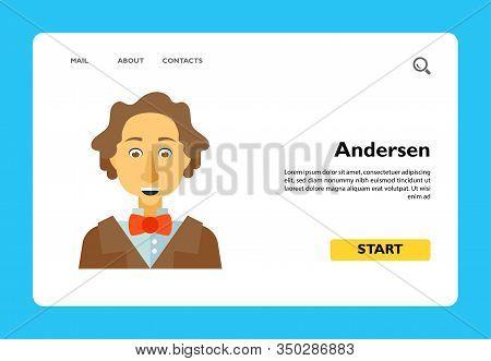 Vector Icon Of Portrait Of Hans Christian Andersen. Author, Storytelling, Danish Writer. Denmark Con