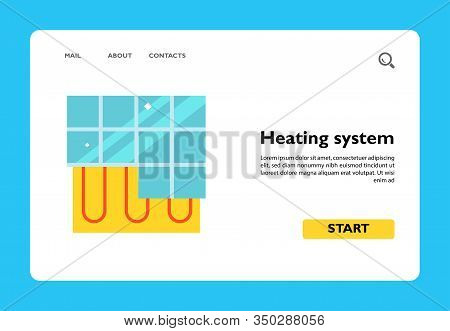 Icon Of Heating System Under Tile Floor. Temperature Control, Climate Control System, Radiant Heat.