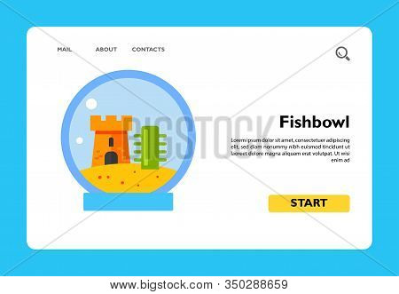 Icon Of Fishbowl With Castle. Aquarium, Fish, Animal. Pet Concept. Can Be Used For Topics Like Decor