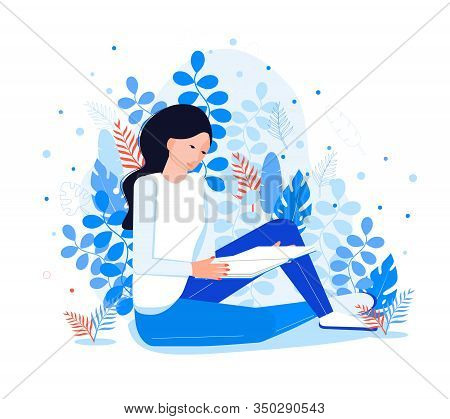 Introvert Reads A Book. Pretty Girl Like Reading. Fantasy Literature World In Her Mind On A Blue Flo