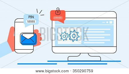 Verification Pin Code, Security Code Message. Laptop And Smartphone With E-mail, Bubble Chat. Verifi