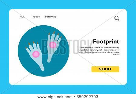 Icon Of Hare Footprint On Circle Background. Rabbit, Following Footprint, Mammal. Animal Concept. Ca