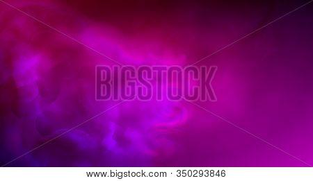 Realistic Purple Fog. Copy Space. Colored Fog. Hookah Smoke. Neon Color. Vector Stock Illustration.