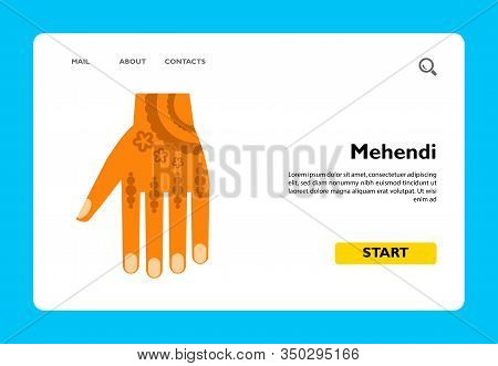 Multicolored Vector Icon Of Hand With Mehendi Drawing Or Henna Tattoo