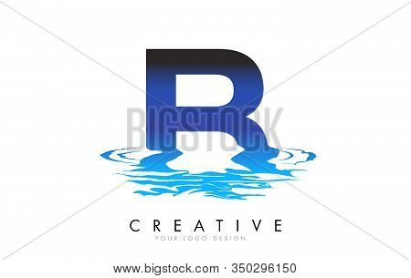 B Letter Logo Design With Water Effect And Deep Blue Gradient Vector Illustration. Template B-brand-