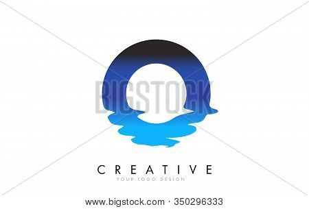 O Letter Logo Design With Water Effect And Deep Blue Gradient Vector Illustration. Template O Brand-