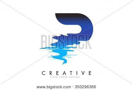 P Letter Logo Design With Water Effect And Deep Blue Gradient Vector Illustration. Template P Brand-