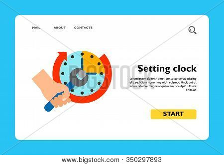 Vector Icon Of Human Hand Holding Wrench And Setting Clock. Setting Time, Interval, Maintenance. Tim