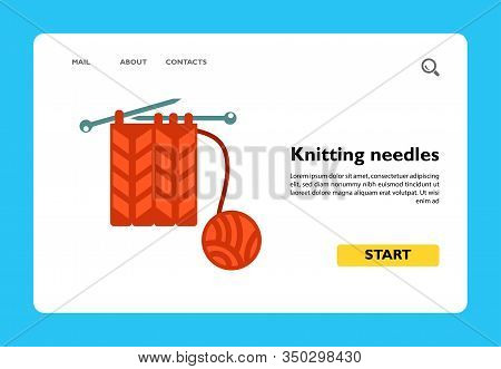 Vector Icon Of Knitting Needles With Yarn. Wool, Knitting, Handicraft. Handmade Concept. Can Be Used