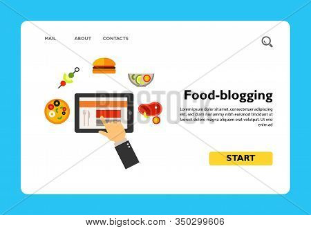 Icon Of Food-blogging. Website, Gourmet, Choosing. Blogging Concept. Can Be Used For Topics Like Res