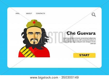 Icon Of Smiling Ernesto Che Guevara. National Hero Of Cuba, Rebellion, Freedom. Cuban Revolution Con