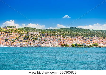 Croatia, Adriatic Coast, City Of Sibenik In Dalmatia, Panoramic View Of Old City Center From The Sea