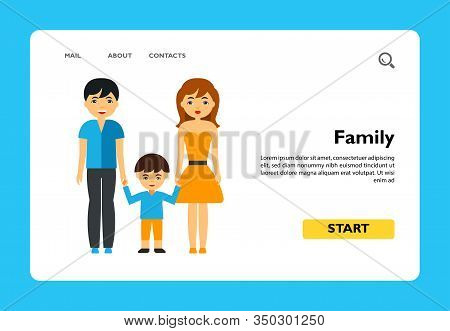 Vector Icon Of Parents And Son Holding Hands. Family Therapy, Human Society, Healthy Family. People