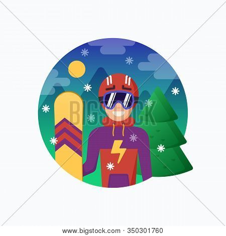 Smiling Snowboarder In Helmet With Snowboard. Vector Flat Style Illustration With Mountains And Pine