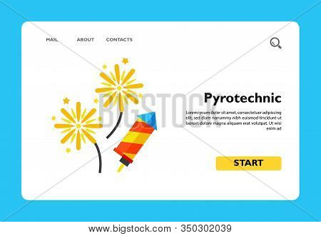 Vector Icon Of Exploding Pyrotechnic Rockets. Party, Festival, Fun. Firework Concept. Can Be Used Fo