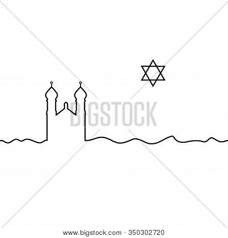 Judaism Synagogue And David Star. One Line Drawing. Vector.