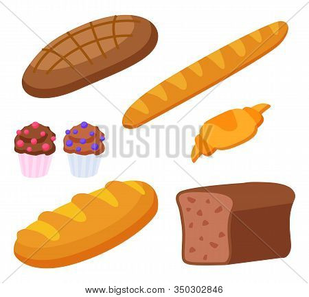 Set Of Products Made Of Flour. Isolated Baguette And Croissant, French Cuisine Food. Rye Bread And C