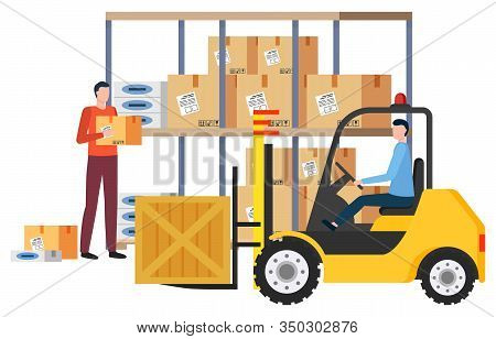Shipping And Delivery Of Items In Boxes. Isolated Male People In Logistics Company Dealing With Carg