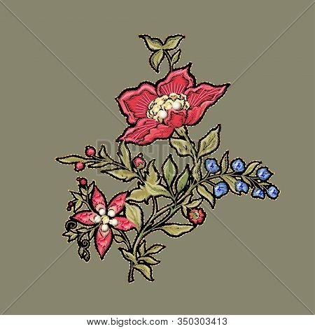 Fantasy Flowers In Retro, Vintage, Jacobean Embroidery Style. Embroidery Imitation With Beads And Se