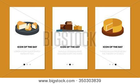 Cheese Flat Icon Set. Chocolate, Butter, Block, Piece Isolated Sign Pack. Food, Snack, Gourmet Conce