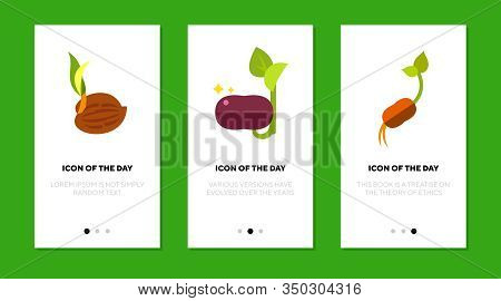 Sprouts Flat Icon Set. Grain, Bean, Nut, Seedling Isolated Sign Pack. Growing, Germinate, Botany, Ra