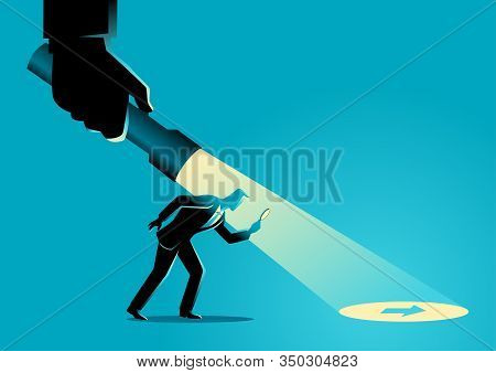 Business Concept Illustration Of A Businessman Being Guided By A Hand Holding A Flashlight Uncoverin